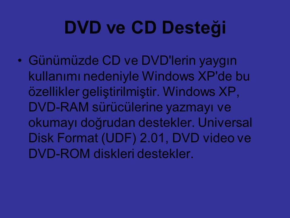 DVD ve CD Desteği Günümüzde CD ve DVD'lerin yaygın kullanımı nedeniyle Windows XP'de bu özellikler geliştirilmiştir. Windows XP, DVD-RAM sürücülerine