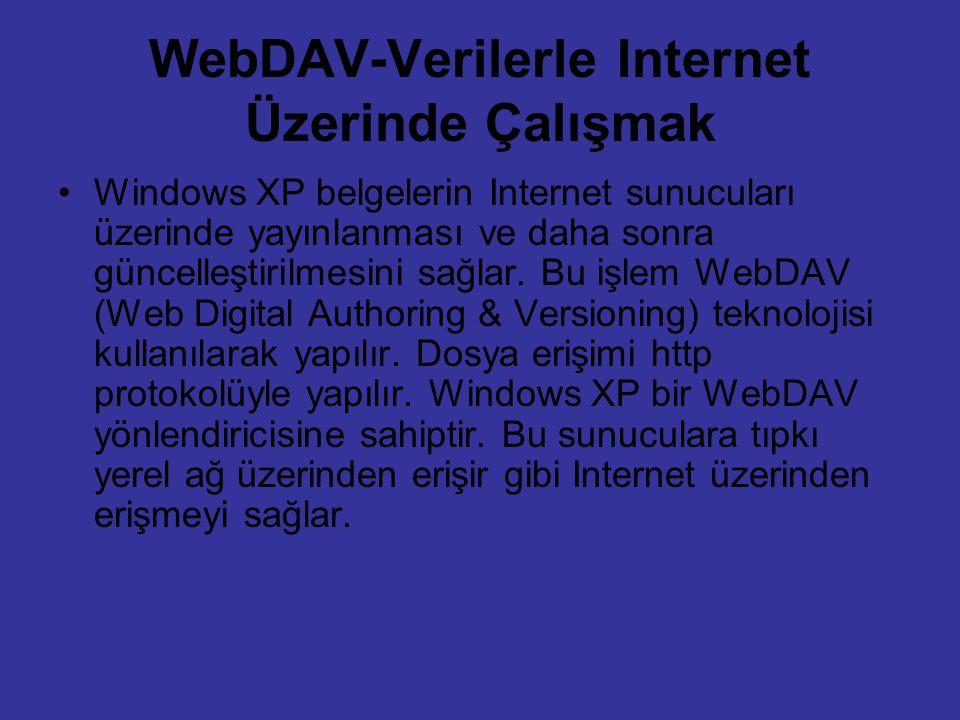 WebDAV-Verilerle Internet Üzerinde Çalışmak Windows XP belgelerin Internet sunucuları üzerinde yayınlanması ve daha sonra güncelleştirilmesini sağlar.