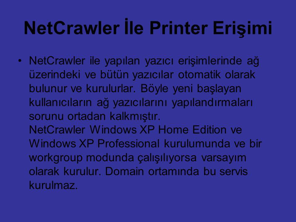 NetCrawler İle Printer Erişimi NetCrawler ile yapılan yazıcı erişimlerinde ağ üzerindeki ve bütün yazıcılar otomatik olarak bulunur ve kurulurlar. Böy