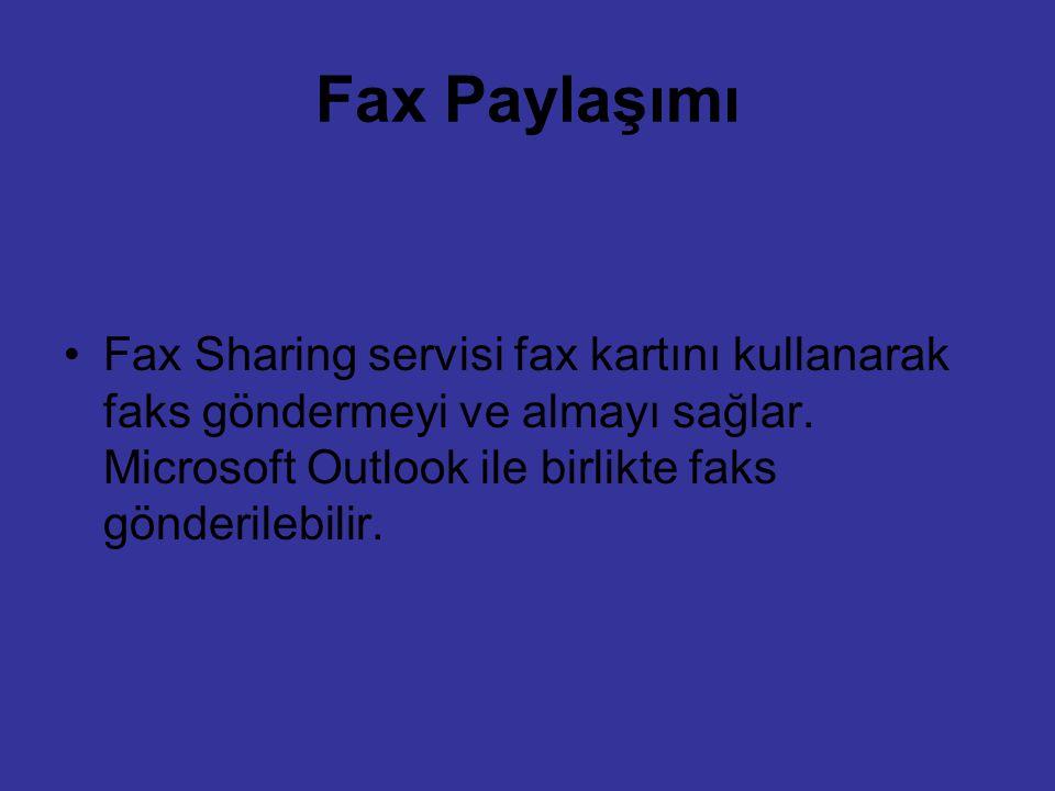 Fax Paylaşımı Fax Sharing servisi fax kartını kullanarak faks göndermeyi ve almayı sağlar. Microsoft Outlook ile birlikte faks gönderilebilir.