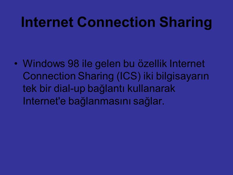 Internet Connection Sharing Windows 98 ile gelen bu özellik Internet Connection Sharing (ICS) iki bilgisayarın tek bir dial-up bağlantı kullanarak Int