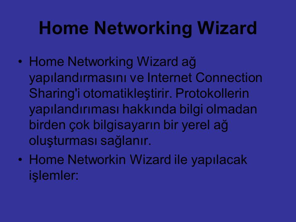 Home Networking Wizard Home Networking Wizard ağ yapılandırmasını ve Internet Connection Sharing'i otomatikleştirir. Protokollerin yapılandırıması hak