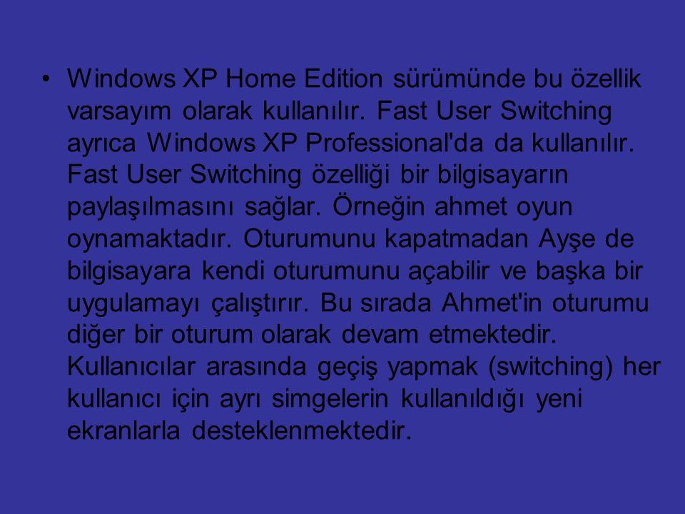 Windows XP Home Edition sürümünde bu özellik varsayım olarak kullanılır. Fast User Switching ayrıca Windows XP Professional'da da kullanılır. Fast Use