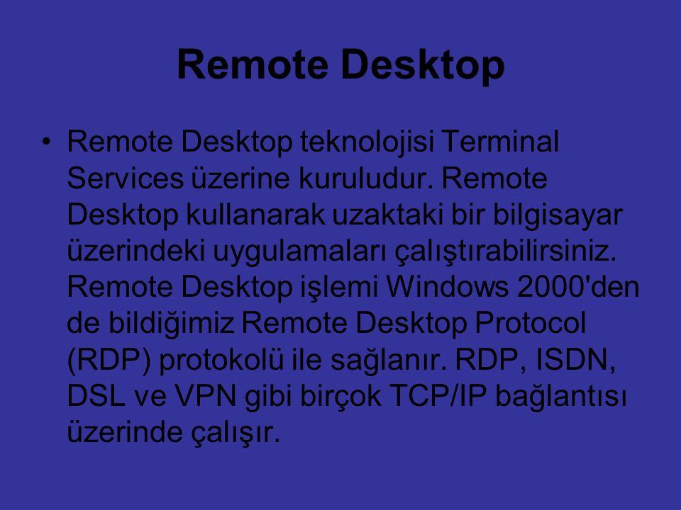 Remote Desktop Remote Desktop teknolojisi Terminal Services üzerine kuruludur. Remote Desktop kullanarak uzaktaki bir bilgisayar üzerindeki uygulamala