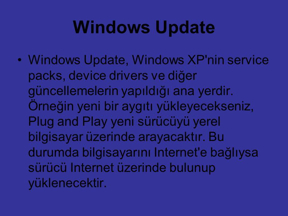 Windows Update Windows Update, Windows XP'nin service packs, device drivers ve diğer güncellemelerin yapıldığı ana yerdir. Örneğin yeni bir aygıtı yük