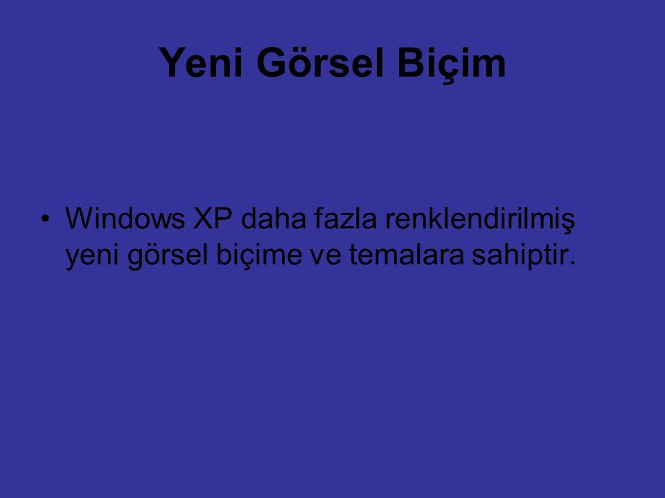 Yeni Görsel Biçim Windows XP daha fazla renklendirilmiş yeni görsel biçime ve temalara sahiptir.