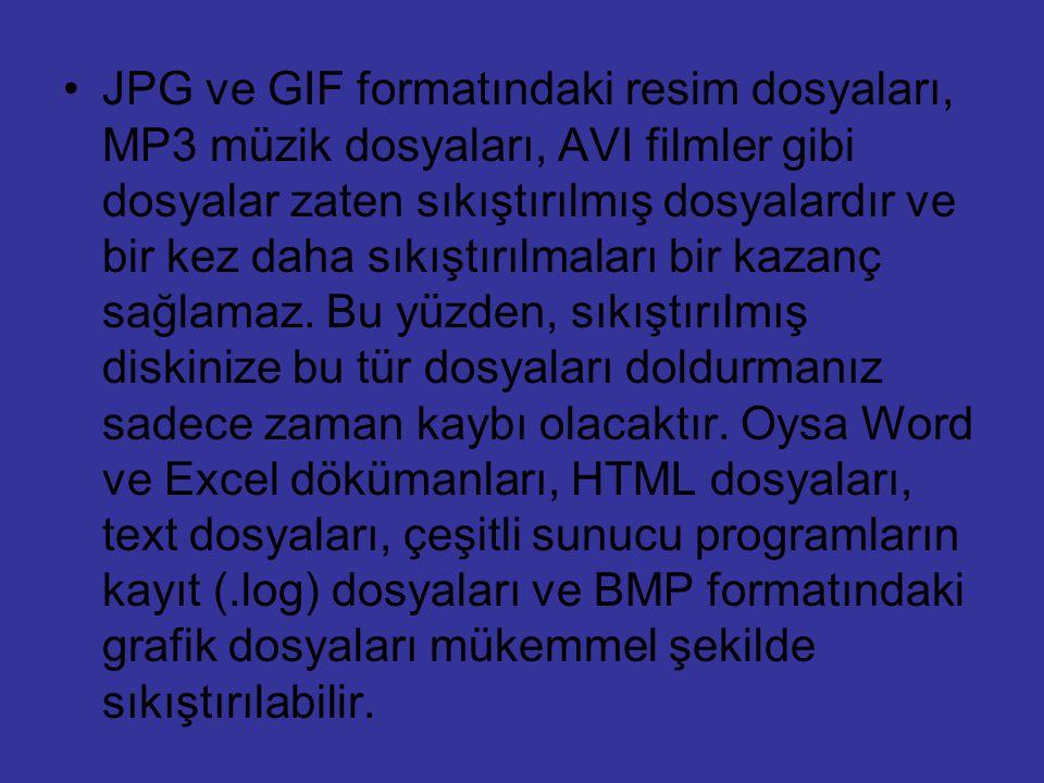 JPG ve GIF formatındaki resim dosyaları, MP3 müzik dosyaları, AVI filmler gibi dosyalar zaten sıkıştırılmış dosyalardır ve bir kez daha sıkıştırılmala