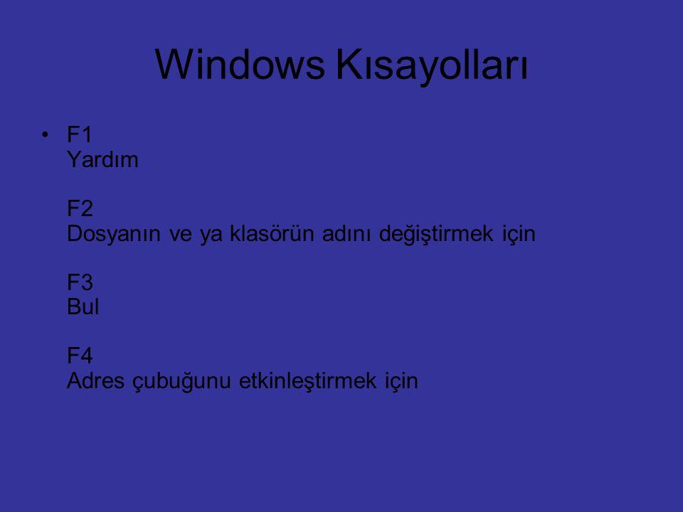 Windows Kısayolları F1 Yardım F2 Dosyanın ve ya klasörün adını değiştirmek için F3 Bul F4 Adres çubuğunu etkinleştirmek için