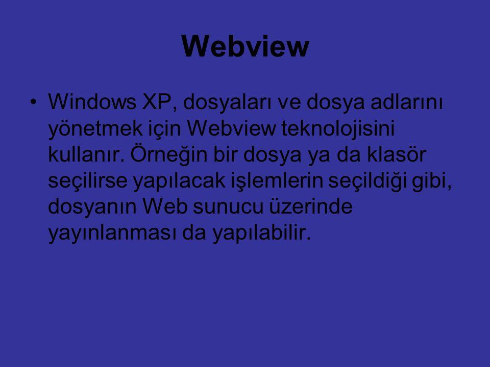 Webview Windows XP, dosyaları ve dosya adlarını yönetmek için Webview teknolojisini kullanır. Örneğin bir dosya ya da klasör seçilirse yapılacak işlem