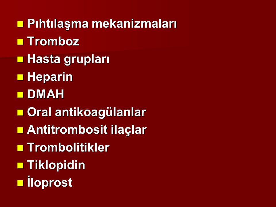 Antitrombosit İlaçlar Aspirin Aspirin NSAİİ NSAİİ Dipiridamol Dipiridamol Tiklopidin Tiklopidin Klopidogrel Klopidogrel Dekstran Dekstran  -blokerler  -blokerler Prostasiklin Prostasiklin Balık yağı Balık yağı  -laktam antibiyotikler  -laktam antibiyotikler E vitamini E vitamini Ca +2 kanal blokerleri Ca +2 kanal blokerleri