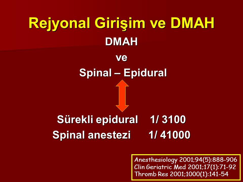 Rejyonal Girişim ve DMAH DMAHve Spinal – Epidural Spinal – Epidural Sürekli epidural 1/ 3100 Spinal anestezi 1/ 41000 Anesthesiology 2001;94(5):888-90