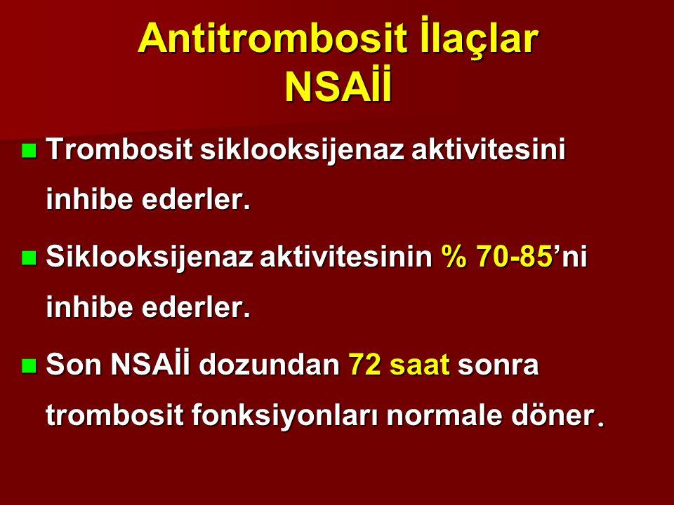 Antitrombosit İlaçlar NSAİİ Trombosit siklooksijenaz aktivitesini inhibe ederler. Trombosit siklooksijenaz aktivitesini inhibe ederler. Siklooksijenaz