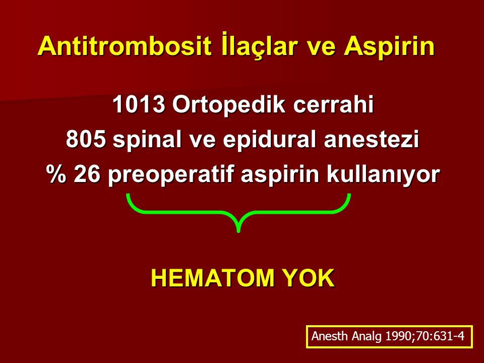 Antitrombosit İlaçlar ve Aspirin 1013 Ortopedik cerrahi 805 spinal ve epidural anestezi % 26 preoperatif aspirin kullanıyor HEMATOM YOK Anesth Analg 1