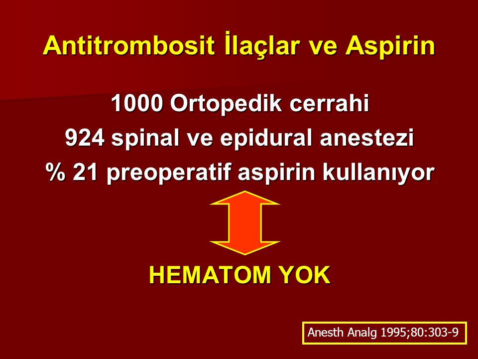 Antitrombosit İlaçlar ve Aspirin 1000 Ortopedik cerrahi 924 spinal ve epidural anestezi % 21 preoperatif aspirin kullanıyor HEMATOM YOK Anesth Analg 1