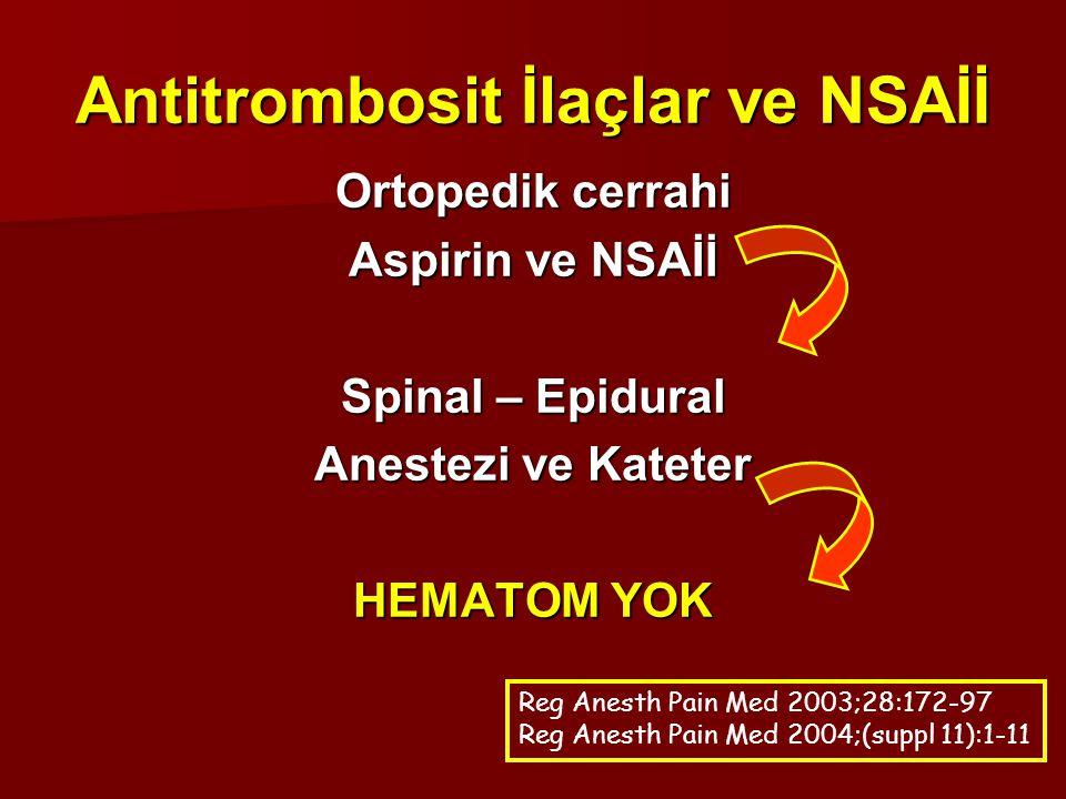 Antitrombosit İlaçlar ve NSAİİ Ortopedik cerrahi Aspirin ve NSAİİ Spinal – Epidural Anestezi ve Kateter HEMATOM YOK Reg Anesth Pain Med 2003;28:172-97