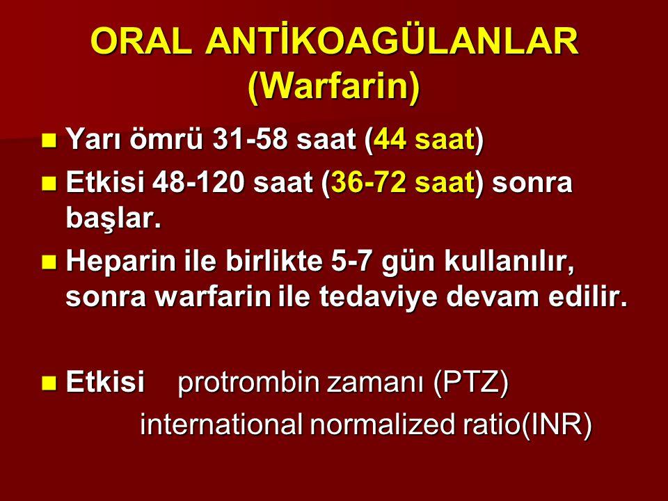 ORAL ANTİKOAGÜLANLAR (Warfarin) Yarı ömrü 31-58 saat (44 saat) Yarı ömrü 31-58 saat (44 saat) Etkisi 48-120 saat (36-72 saat) sonra başlar. Etkisi 48-