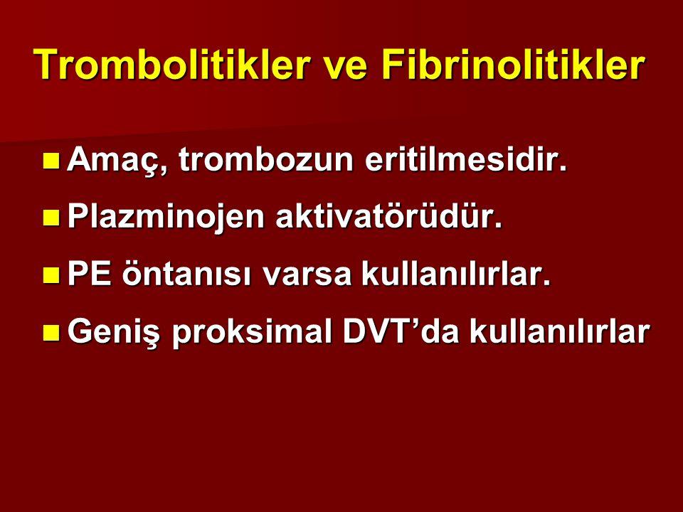 Trombolitikler ve Fibrinolitikler Amaç, trombozun eritilmesidir. Amaç, trombozun eritilmesidir. Plazminojen aktivatörüdür. Plazminojen aktivatörüdür.