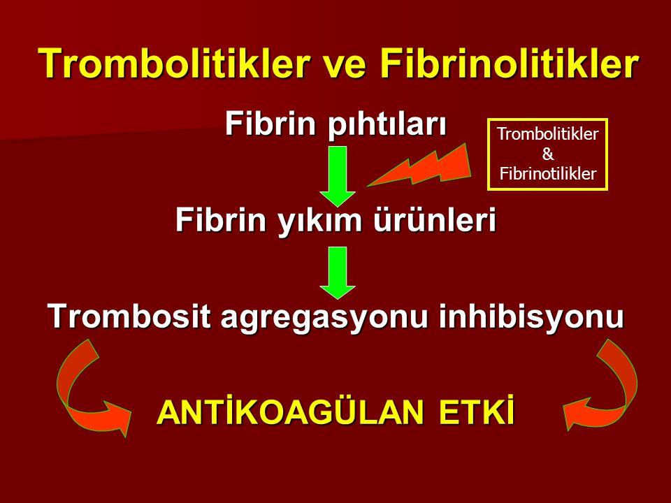 Trombolitikler ve Fibrinolitikler Fibrin pıhtıları Fibrin yıkım ürünleri Trombosit agregasyonu inhibisyonu ANTİKOAGÜLAN ETKİ Trombolitikler & Fibrinot