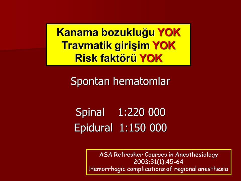 Spontan hematomlar Spinal 1:220 000 Epidural 1:150 000 Kanama bozukluğu YOK Travmatik girişim YOK Risk faktörü YOK ASA Refresher Courses in Anesthesio