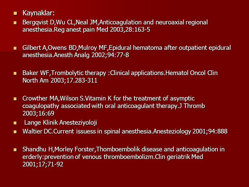 Kaynaklar: Kaynaklar: Bergqvist D,Wu CL,Neal JM,Anticoagulation and neuroaxial regional anesthesia.Reg anest pain Med 2003,28:163-5 Bergqvist D,Wu CL,