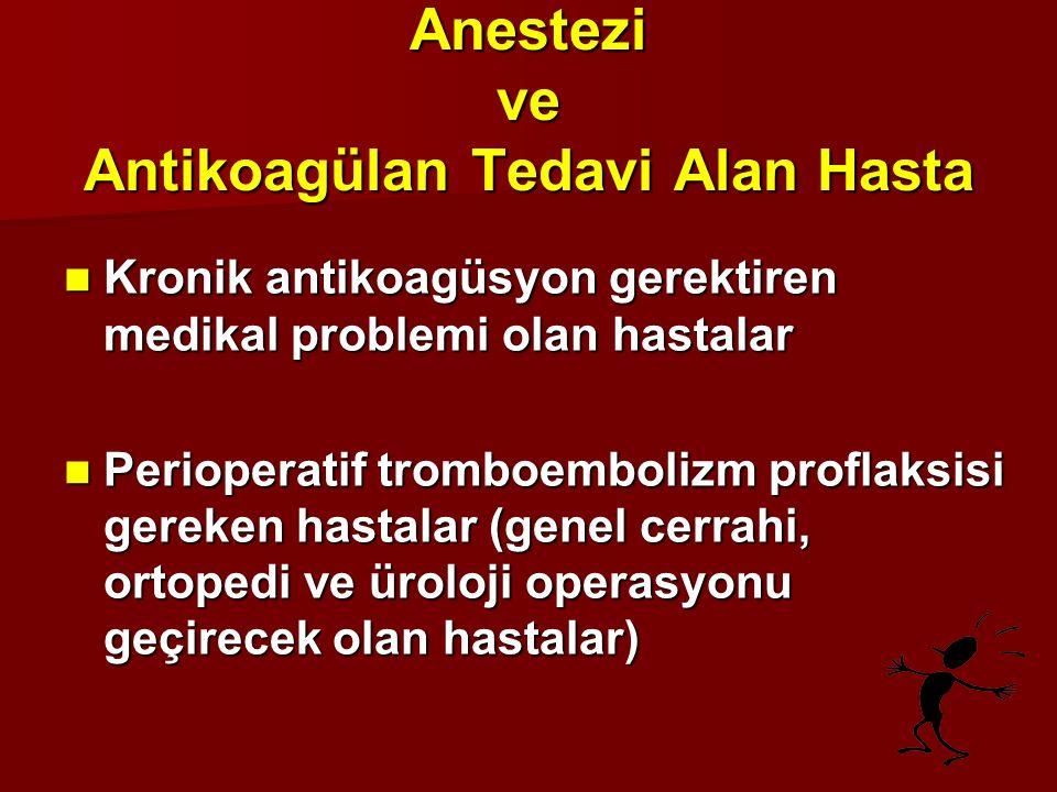 ANTİKOAGÜLAN İLAÇLAR Standart heparin (unfraksiyone-UFH) Standart heparin (unfraksiyone-UFH) Düşük molekül ağırlıklı heparin (DMAH) Düşük molekül ağırlıklı heparin (DMAH) Oral antikoagülanlar (Warfarin) Oral antikoagülanlar (Warfarin) Antitrombosit ilaçlar (Aspirin, NSAİİ) Antitrombosit ilaçlar (Aspirin, NSAİİ) Trombolitikler Trombolitikler Diğer Diğer
