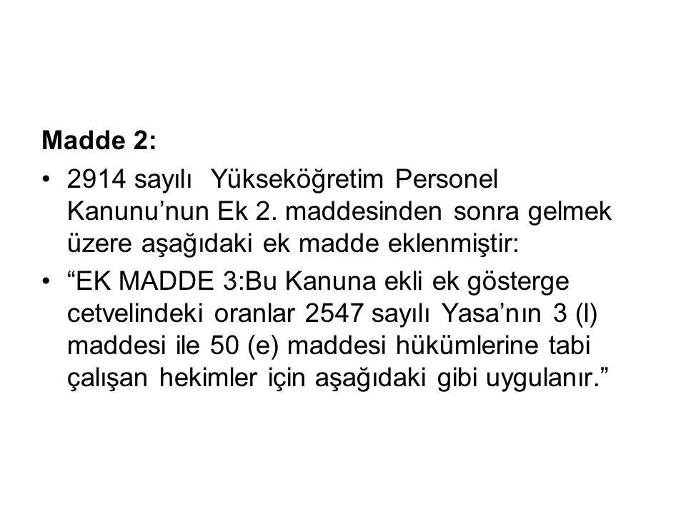 Madde 2: 2914 sayılı Yükseköğretim Personel Kanunu'nun Ek 2.