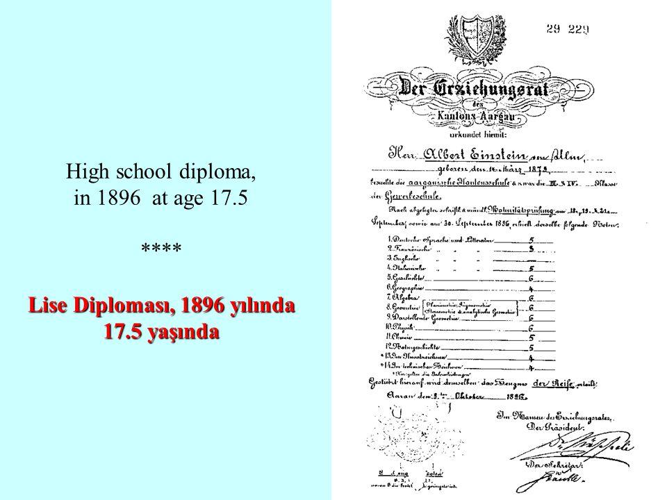 Lise Diploması, 1896 yılında 17.5 yaşında High school diploma, in 1896 at age 17.5 **** Lise Diploması, 1896 yılında 17.5 yaşında