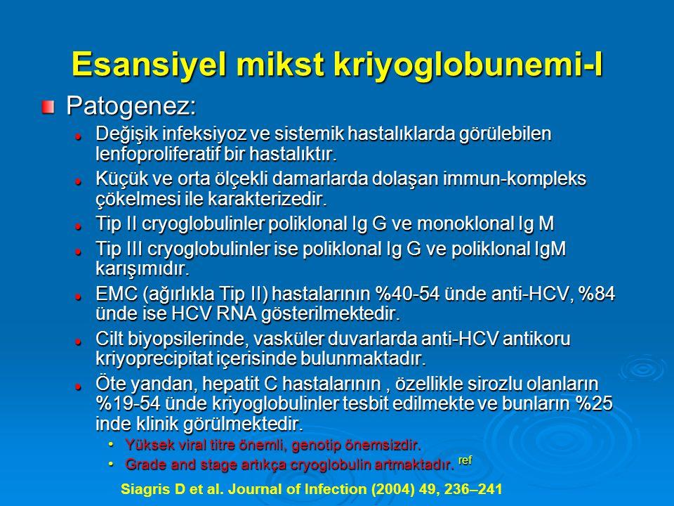 Esansiyel mikst kriyoglobunemi-I Patogenez: Değişik infeksiyoz ve sistemik hastalıklarda görülebilen lenfoproliferatif bir hastalıktır.
