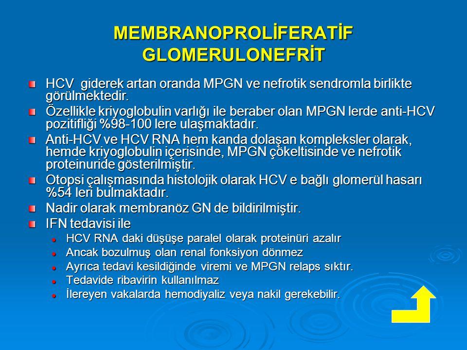 MEMBRANOPROLİFERATİF GLOMERULONEFRİT HCV giderek artan oranda MPGN ve nefrotik sendromla birlikte görülmektedir.