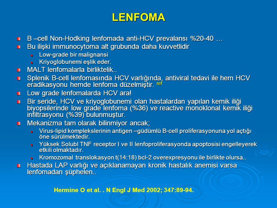 LENFOMA B –cell Non-Hodking lenfomada anti-HCV prevalansı %20-40 … Bu ilişki immunocytoma alt grubunda daha kuvvetlidir Low-grade bir malignansi Low-grade bir malignansi Kriyoglobunemi eşlik eder.