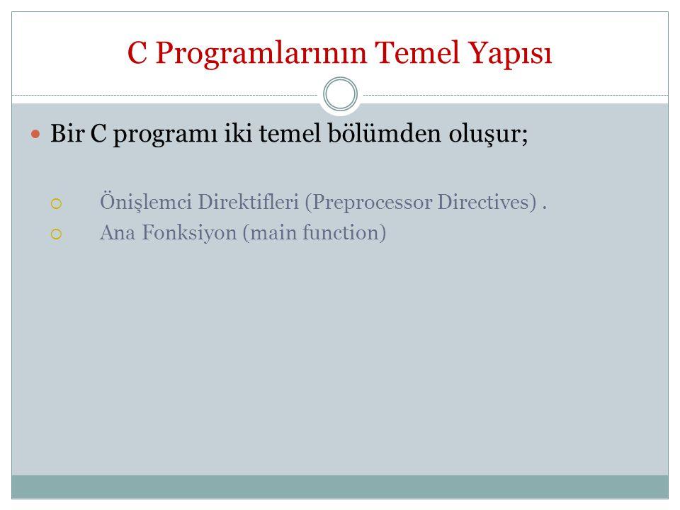 C Programlarının Temel Yapısı Bir C programı iki temel bölümden oluşur;  Önişlemci Direktifleri (Preprocessor Directives).