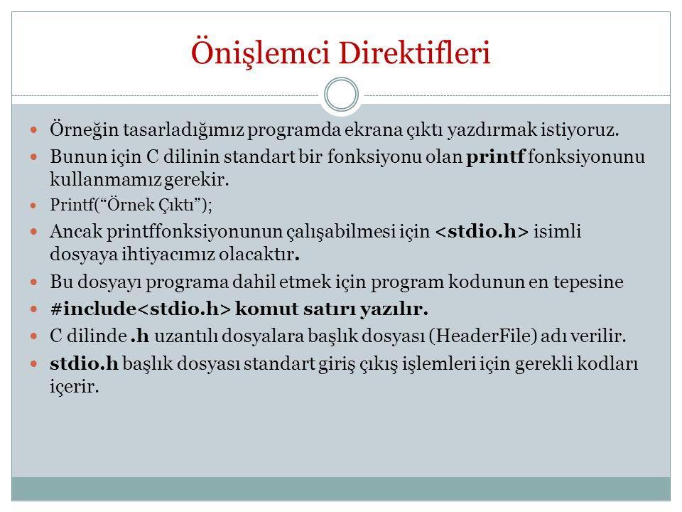 Önişlemci Direktifleri Örneğin tasarladığımız programda ekrana çıktı yazdırmak istiyoruz.