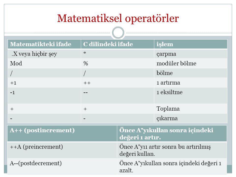 """Matematiksel operatörler Matematikteki ifadeC dilindeki ifadeişlem.X veya hiçbir şey*çarpma Mod%modüler bölme //bölme +1++1 artırma --1 eksiltme ++Toplama --çıkarma A++ (postincrement) Önce A """" yıkullan sonra içindeki değeri 1 artır."""