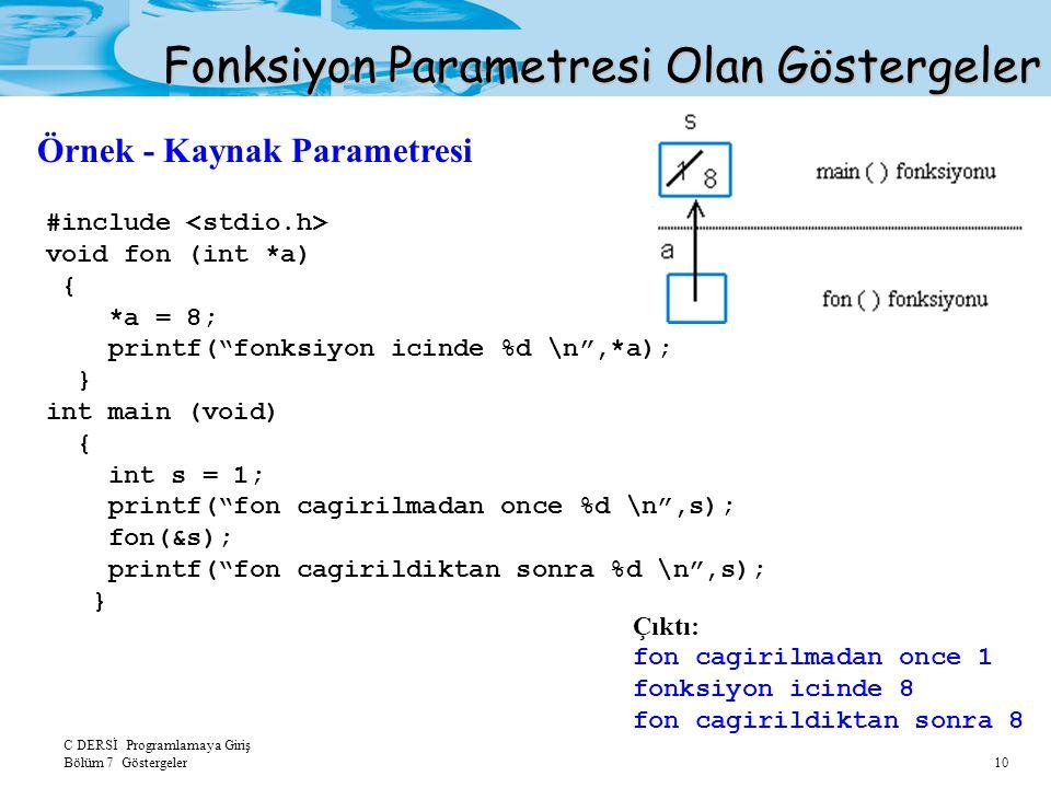 C DERSİ Programlamaya Giriş Bölüm 7 Göstergeler 10 Fonksiyon Parametresi Olan Göstergeler Örnek - Kaynak Parametresi #include void fon (int *a) { *a = 8; printf( fonksiyon icinde %d \n ,*a); } int main (void) { int s = 1; printf( fon cagirilmadan once %d \n ,s); fon(&s); printf( fon cagirildiktan sonra %d \n ,s); } Çıktı: fon cagirilmadan once 1 fonksiyon icinde 8 fon cagirildiktan sonra 8