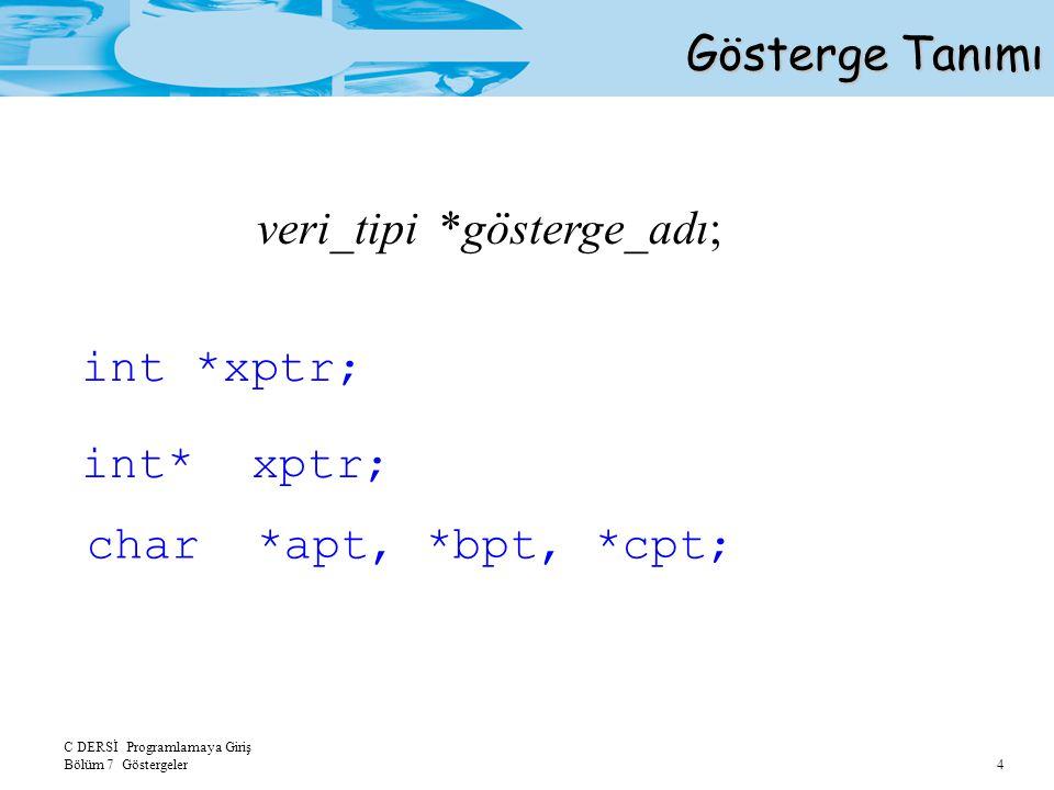 C DERSİ Programlamaya Giriş Bölüm 7 Göstergeler 4 Gösterge Tanımı veri_tipi *gösterge_adı; int *xptr; char *apt, *bpt, *cpt;