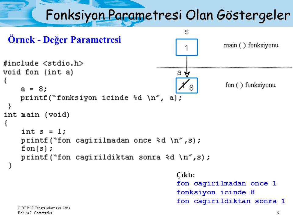 C DERSİ Programlamaya Giriş Bölüm 7 Göstergeler 9 Fonksiyon Parametresi Olan Göstergeler Çıktı: fon cagirilmadan once 1 fonksiyon icinde 8 fon cagirildiktan sonra 1 Örnek - Değer Parametresi