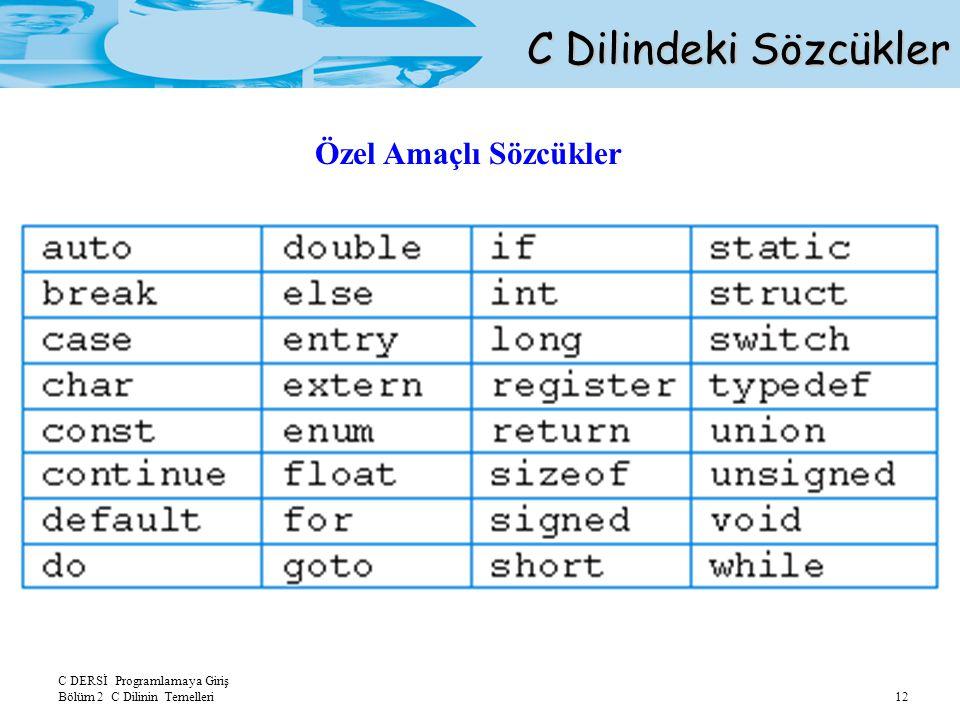 C DERSİ Programlamaya Giriş Bölüm 2 C Dilinin Temelleri 13 Tanıtıcılar: Özel amaçlı sözcüklerin dışında yapılan tanımlamalardır.