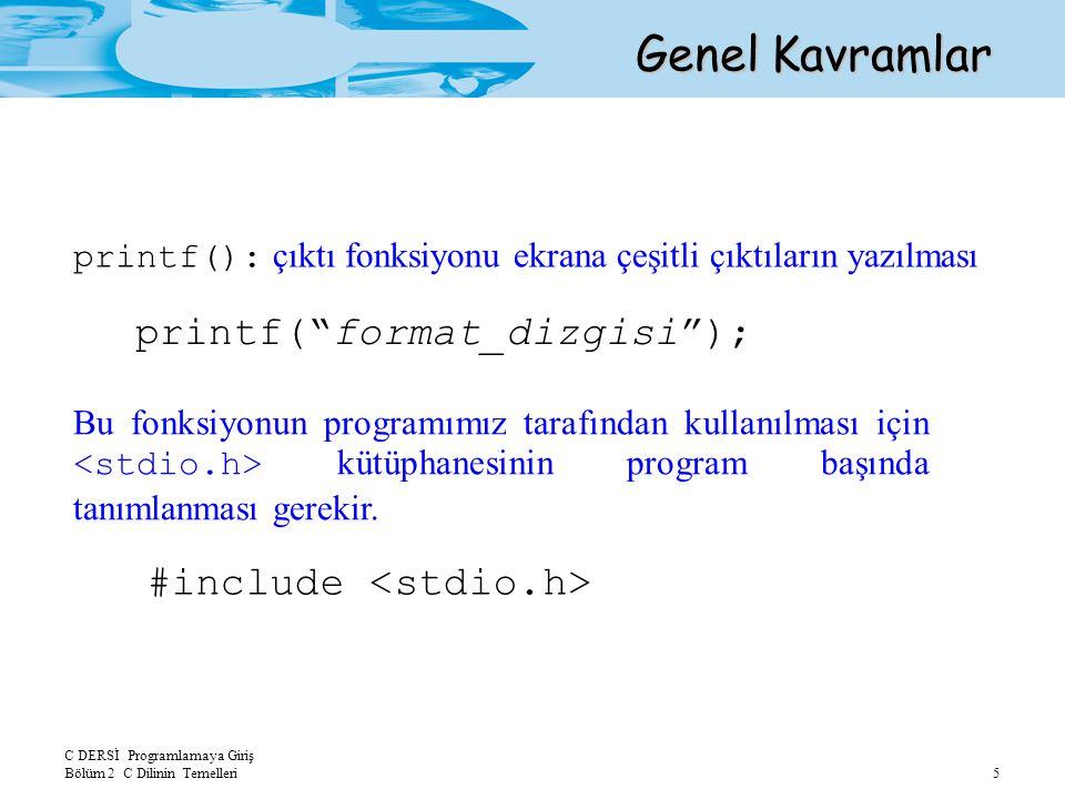 C DERSİ Programlamaya Giriş Bölüm 2 C Dilinin Temelleri 6 Örnek Program Ekranda Bu benim ilk programim. cümlesini görüntüleyecek programı yazınız.