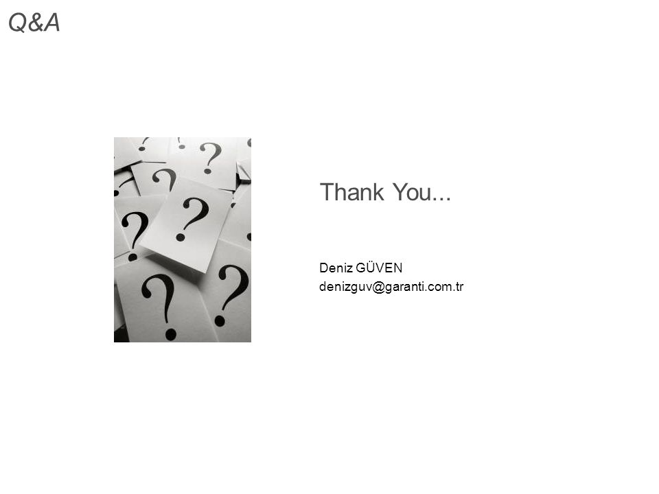 Thank You... Deniz GÜVEN denizguv@garanti.com.tr Q&A