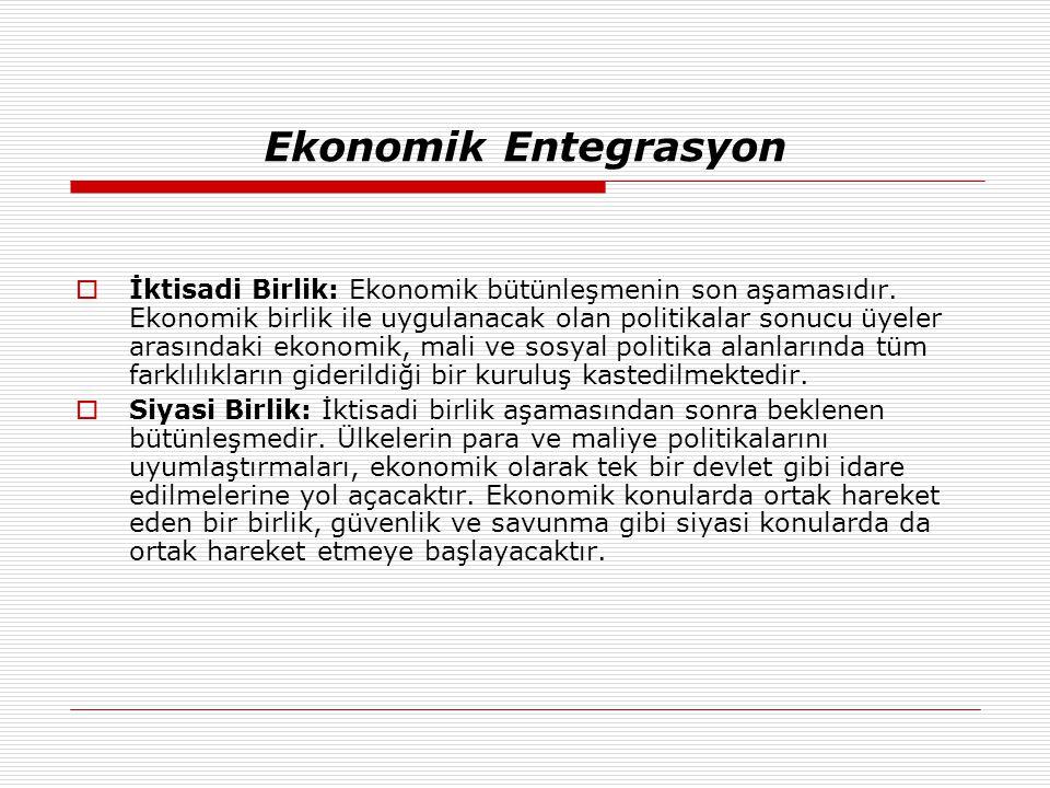 Ekonomik Entegrasyon  İktisadi Birlik: Ekonomik bütünleşmenin son aşamasıdır. Ekonomik birlik ile uygulanacak olan politikalar sonucu üyeler arasında