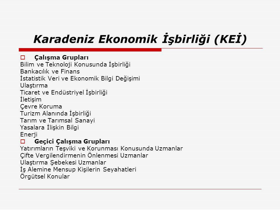 Karadeniz Ekonomik İşbirliği (KEİ)  Çalışma Grupları Bilim ve Teknoloji Konusunda İşbirliği Bankacılık ve Finans İstatistik Veri ve Ekonomik Bilgi De