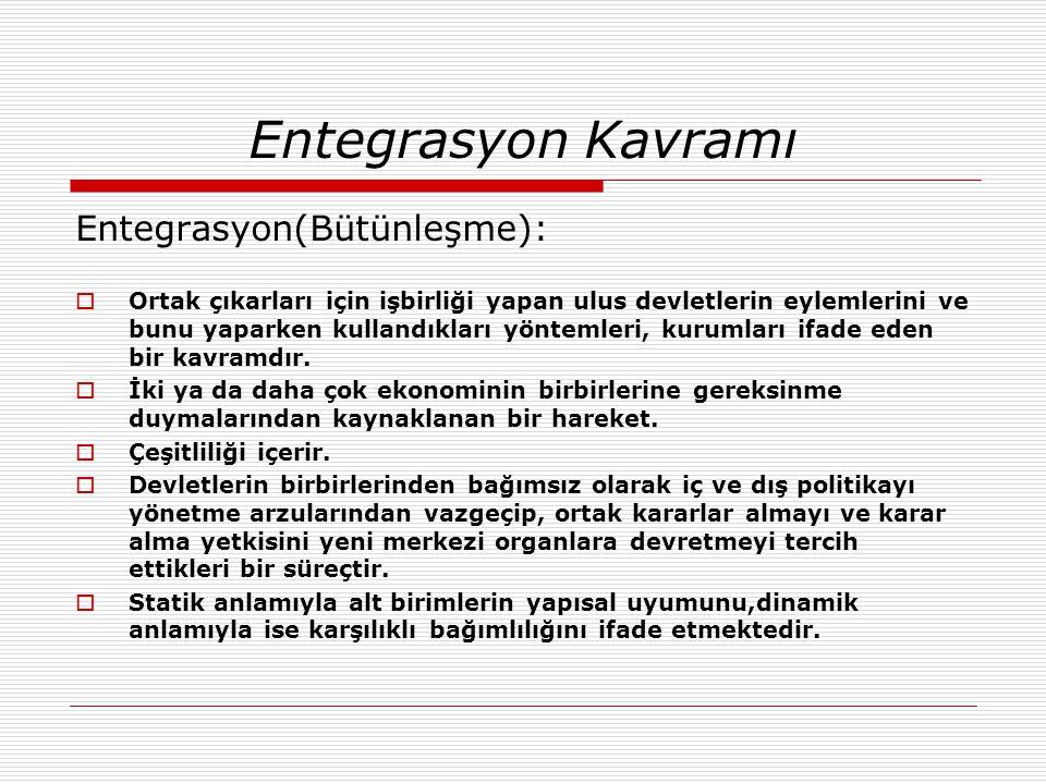 Entegrasyon Kavramı Entegrasyon(Bütünleşme):  Ortak çıkarları için işbirliği yapan ulus devletlerin eylemlerini ve bunu yaparken kullandıkları yöntem