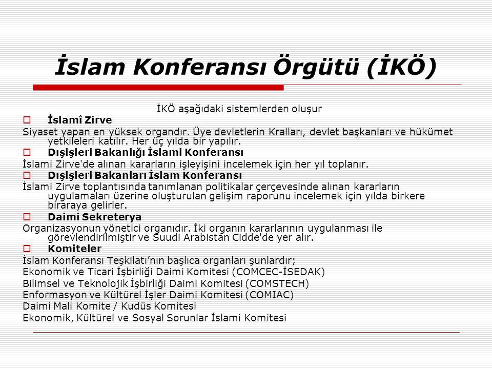 İslam Konferansı Örgütü (İKÖ) İKÖ aşağıdaki sistemlerden oluşur  İslamî Zirve Siyaset yapan en yüksek organdır. Üye devletlerin Kralları, devlet başk