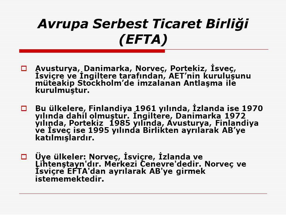  Avusturya, Danimarka, Norveç, Portekiz, İsveç, İsviçre ve İngiltere tarafından, AET'nin kuruluşunu müteakip Stockholm'de imzalanan Antlaşma ile kuru