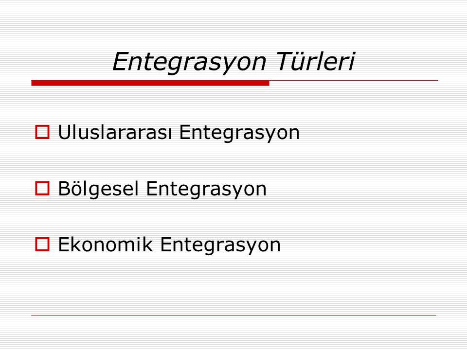 Entegrasyon Türleri  Uluslararası Entegrasyon  Bölgesel Entegrasyon  Ekonomik Entegrasyon