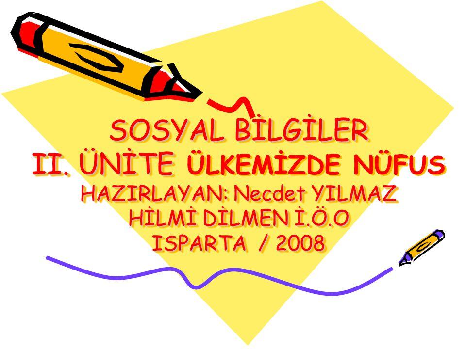 SOSYAL BİLGİLER II. ÜNİTE HAZIRLAYAN: Necdet YILMAZ HİLMİ DİLMEN İ.Ö.O ISPARTA / 2008 SOSYAL BİLGİLER II. ÜNİTE ÜLKEMİZDE NÜFUS HAZIRLAYAN: Necdet YIL