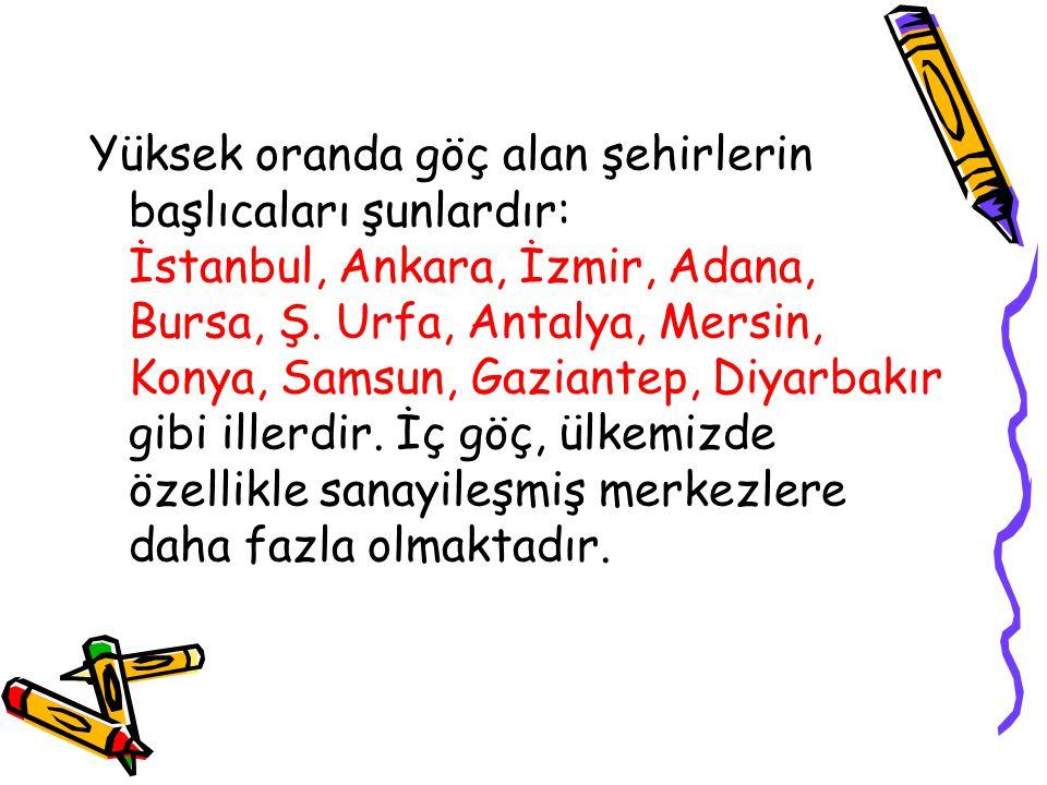 Yüksek oranda göç alan şehirlerin başlıcaları şunlardır: İstanbul, Ankara, İzmir, Adana, Bursa, Ş. Urfa, Antalya, Mersin, Konya, Samsun, Gaziantep, Di