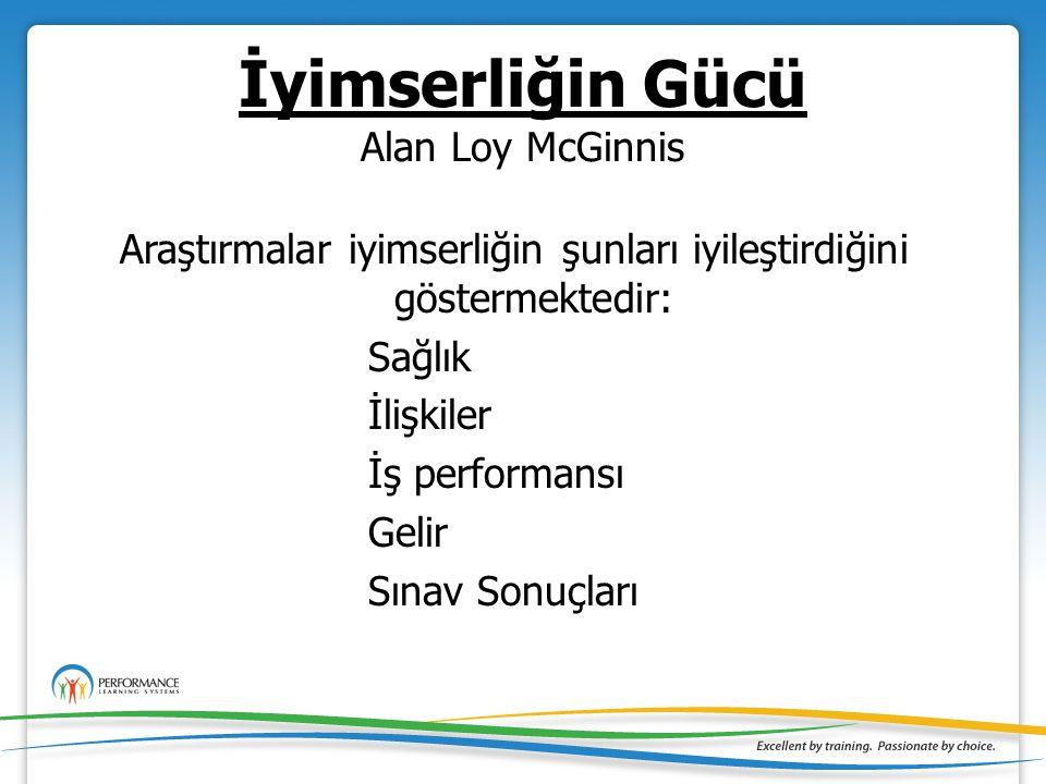 İyimserliğin Gücü Alan Loy McGinnis Araştırmalar iyimserliğin şunları iyileştirdiğini göstermektedir: Sağlık İlişkiler İş performansı Gelir Sınav Sonuçları