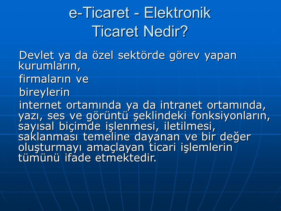 e-Ticaret - Elektronik Ticaret Nedir? Devlet ya da özel sektörde görev yapan kurumların, Devlet ya da özel sektörde görev yapan kurumların, firmaların