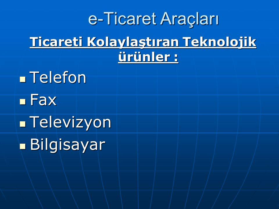 e-Ticaret Araçları Ticareti Kolaylaştıran Teknolojik ürünler : Telefon Telefon Fax Fax Televizyon Televizyon Bilgisayar Bilgisayar